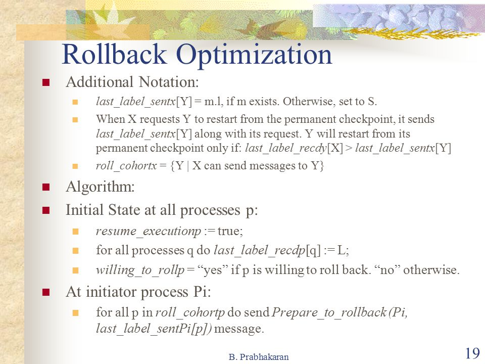 Rollback Optimization