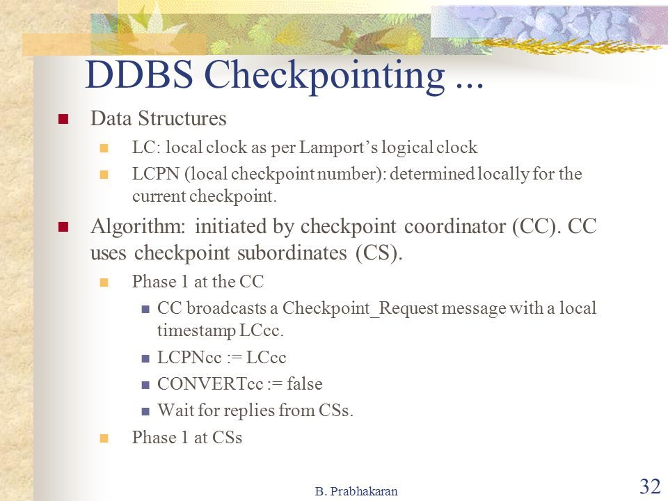 DDBS Checkpointing ... Data Structures