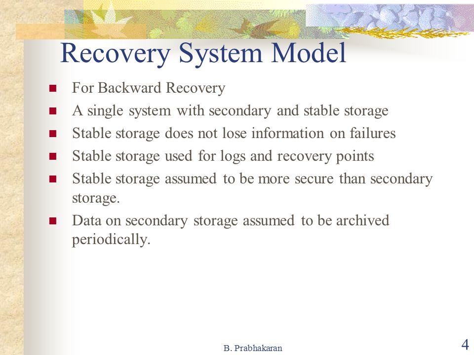 Recovery System Model For Backward Recovery