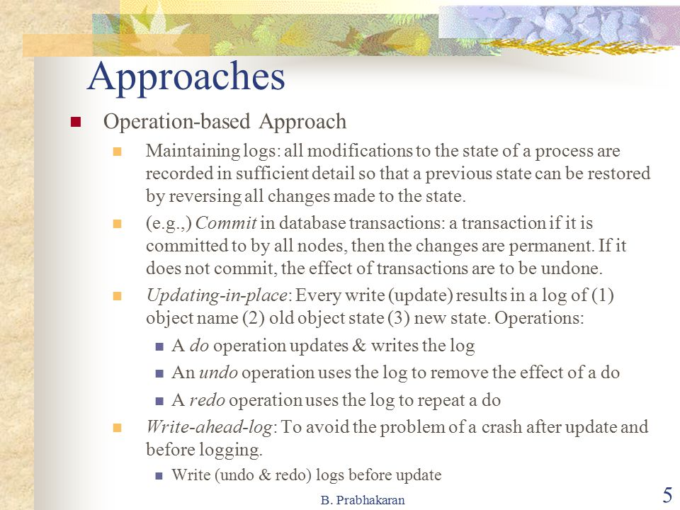 Approaches Operation-based Approach