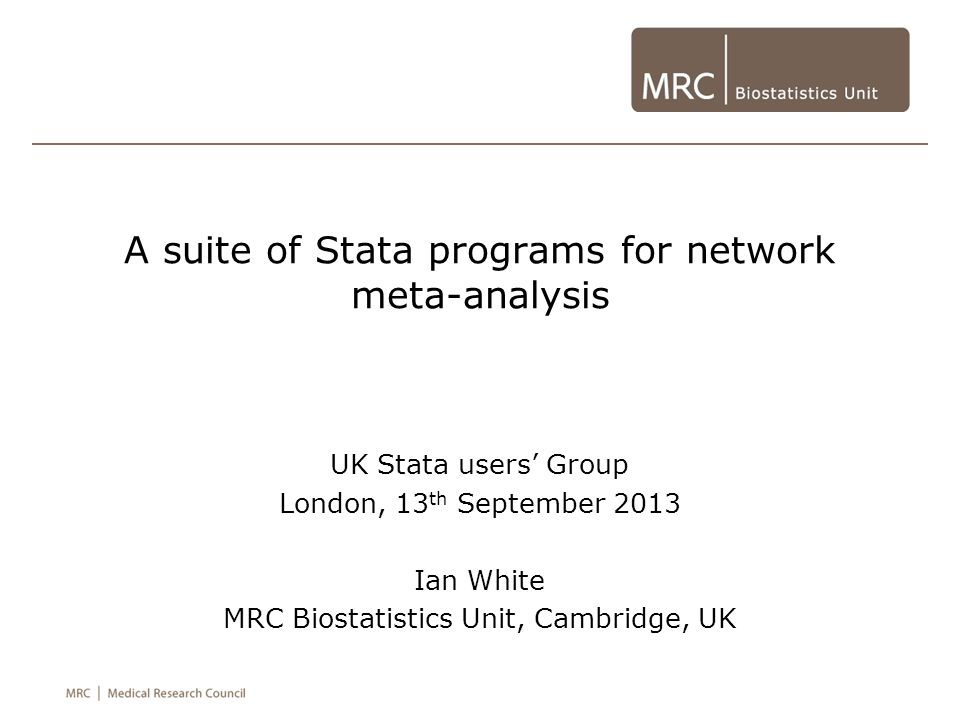 A suite of Stata programs for network meta-analysis
