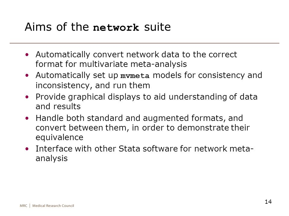 Aims of the network suite