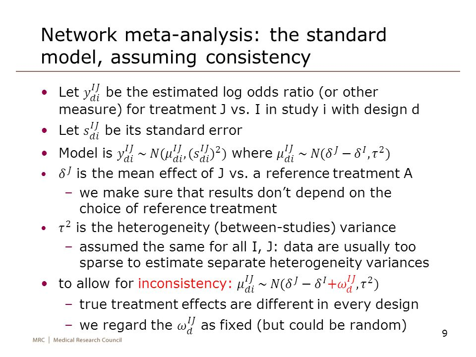 Network meta-analysis: the standard model, assuming consistency