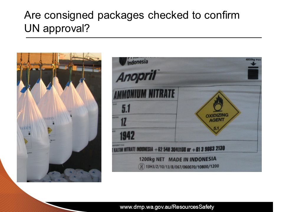 Are consigned packages checked to confirm UN approval