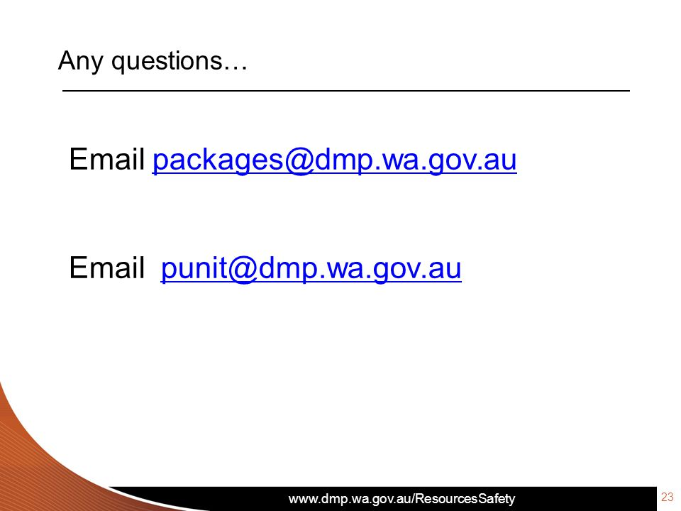 Email packages@dmp.wa.gov.au