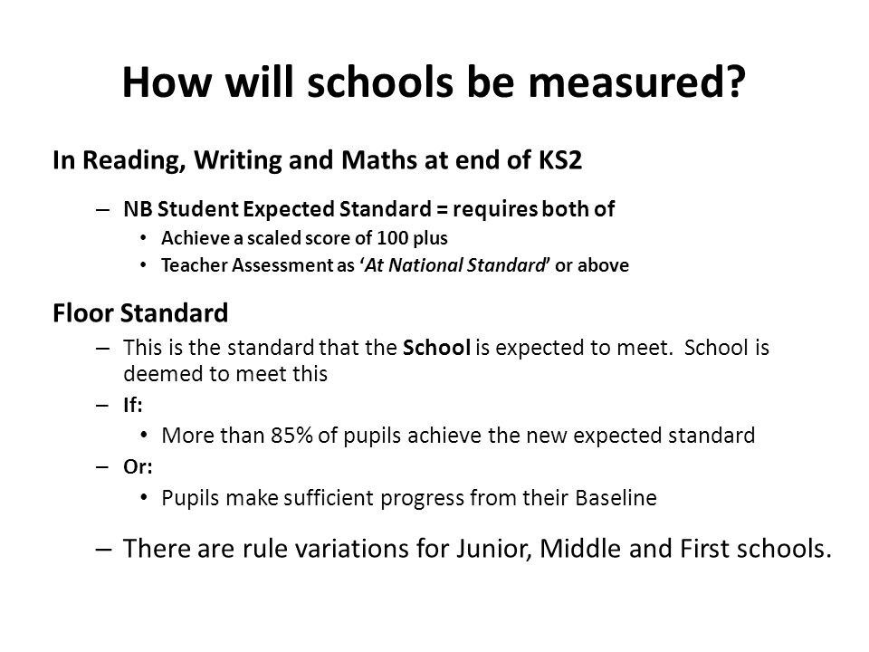 How will schools be measured