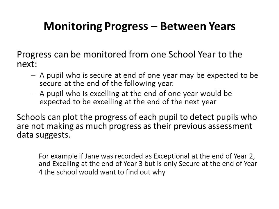Monitoring Progress – Between Years