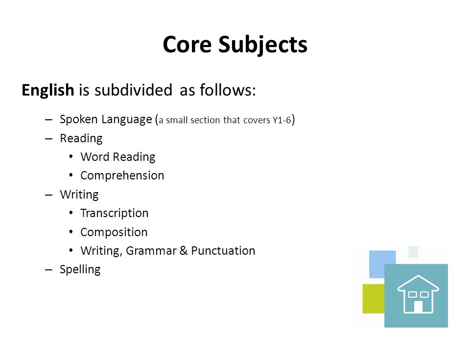 Core Subjects English is subdivided as follows: