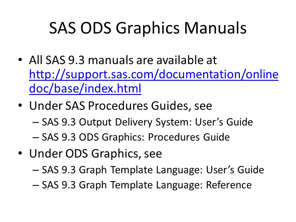 SAS ODS Graphics Manuals