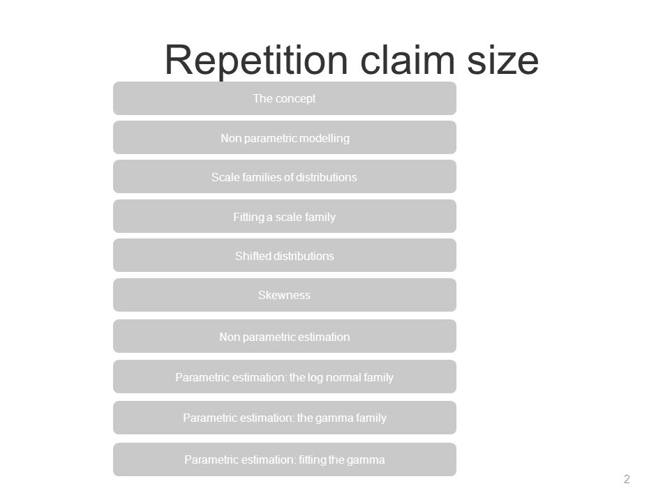 Repetition claim size The concept Non parametric modelling