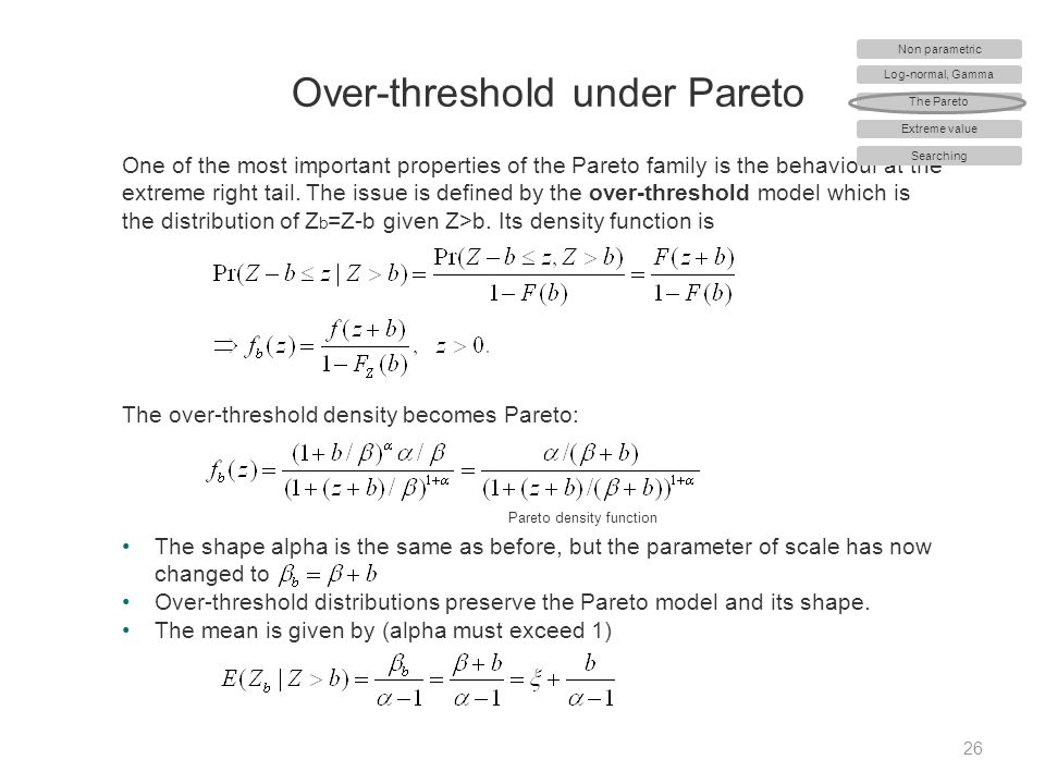 Over-threshold under Pareto