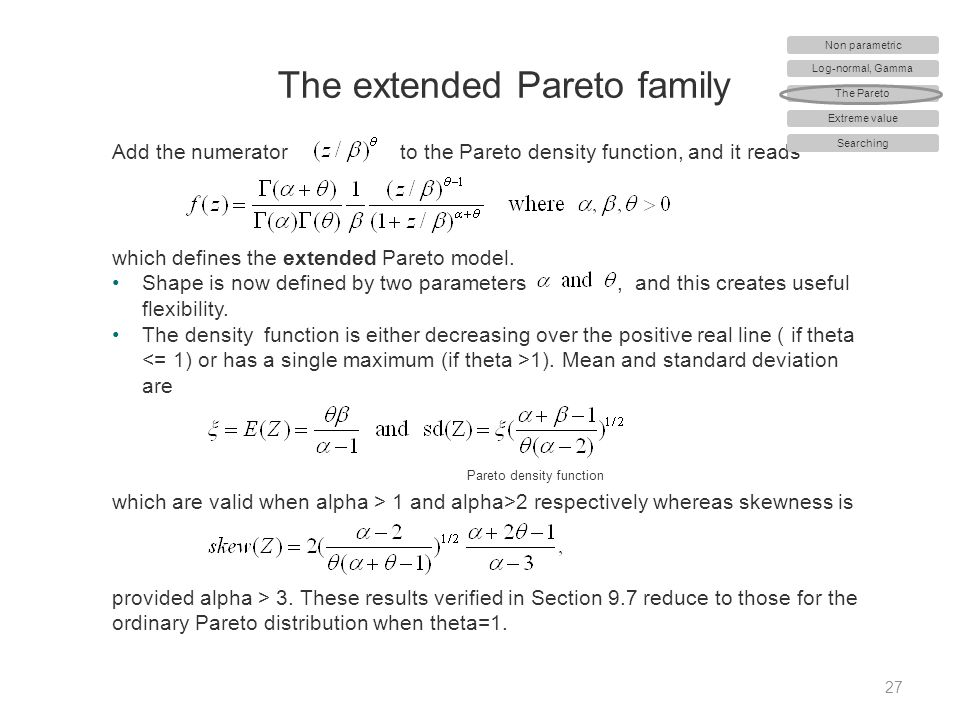 The extended Pareto family