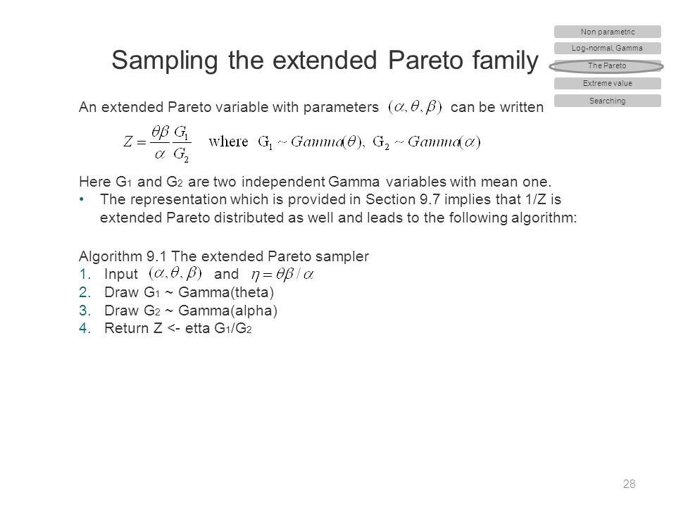 Sampling the extended Pareto family