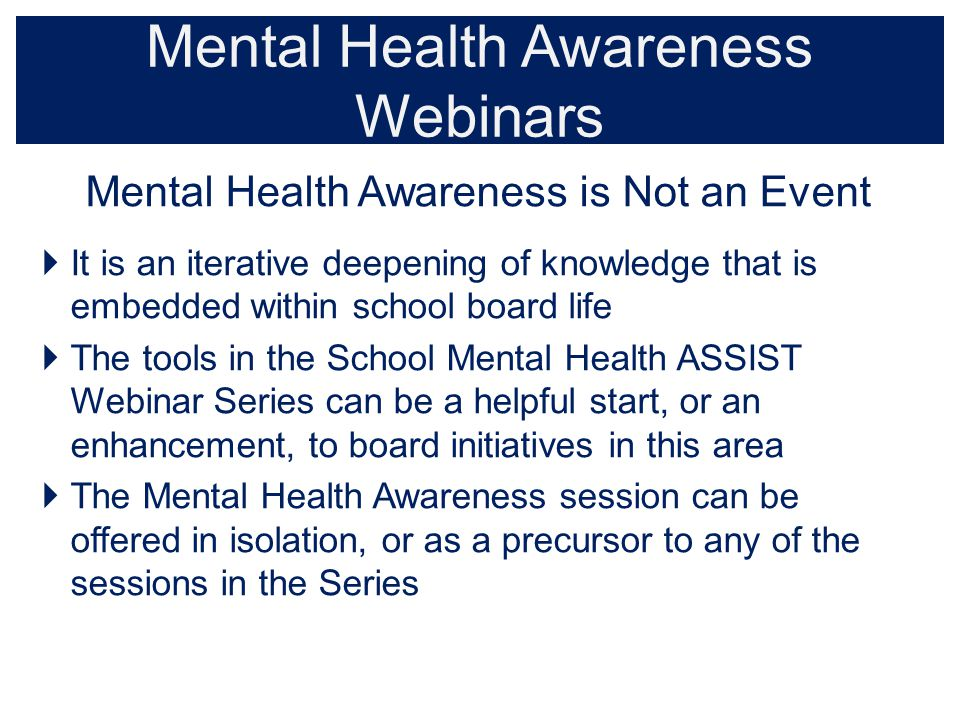 Mental Health Awareness Webinars