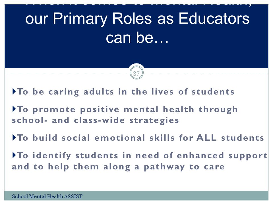 When it comes to Mental Health, our Primary Roles as Educators can be…