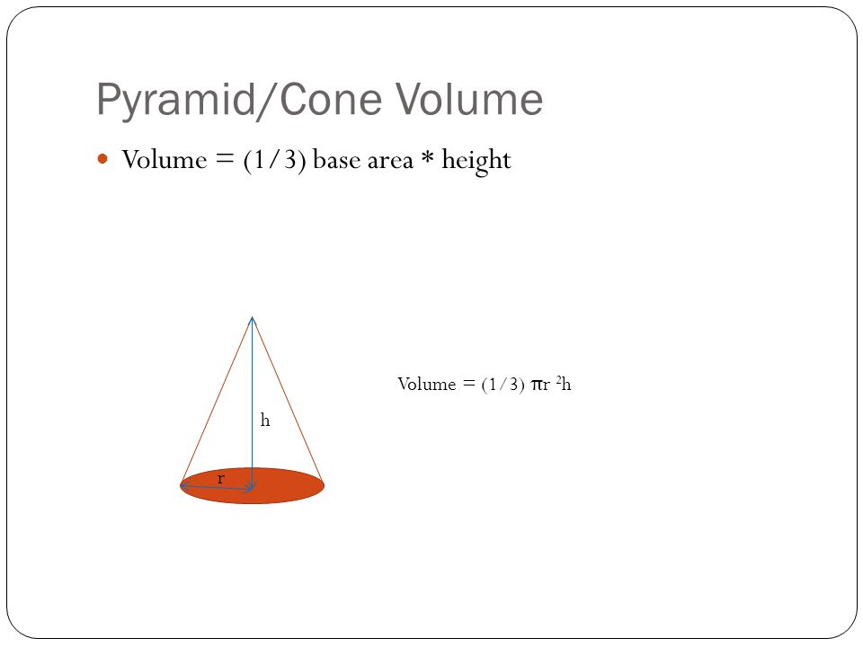 Pyramid/Cone Volume Volume = (1/3) base area * height