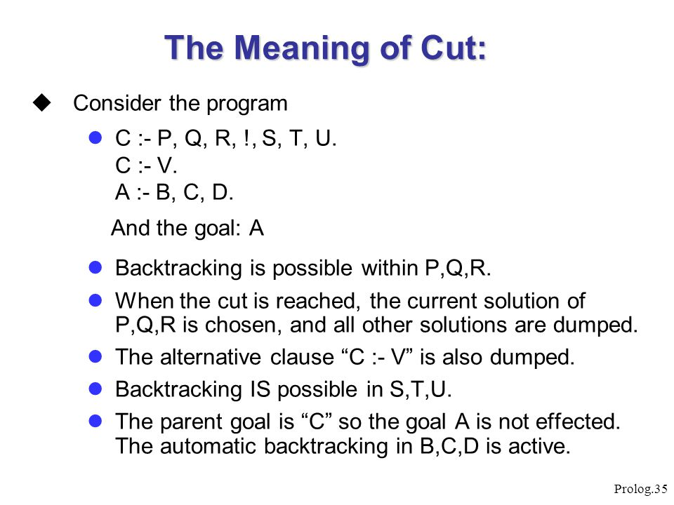 The Meaning of Cut: Consider the program