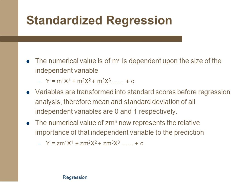 Standardized Regression