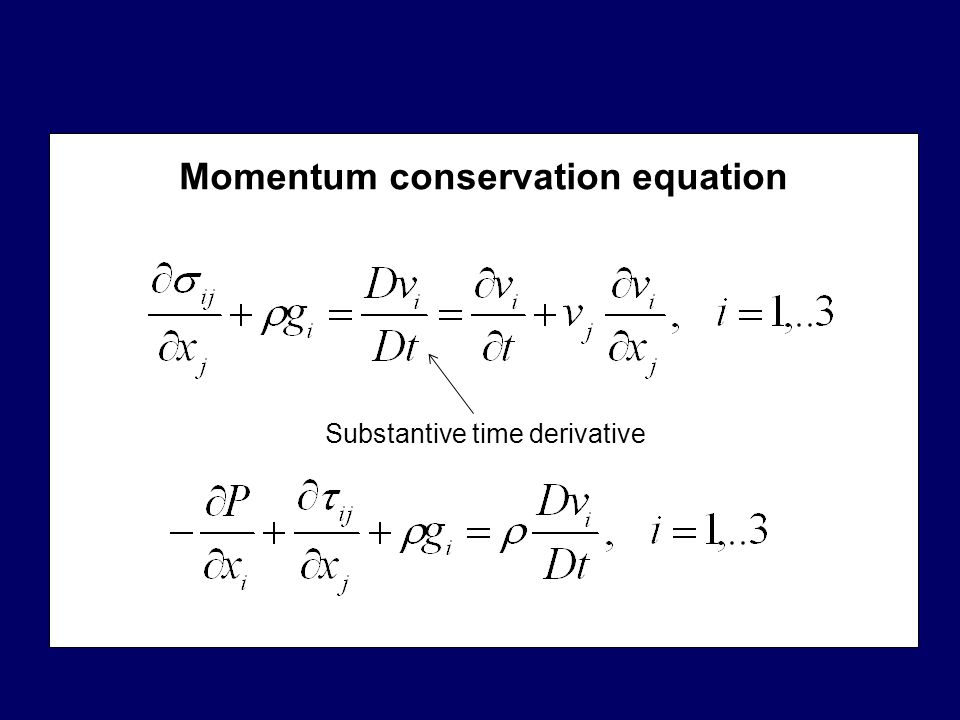 Momentum conservation equation