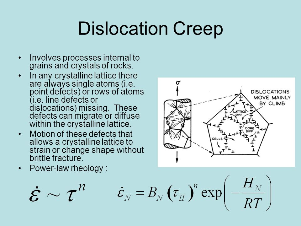 Dislocation Creep Involves processes internal to grains and crystals of rocks.