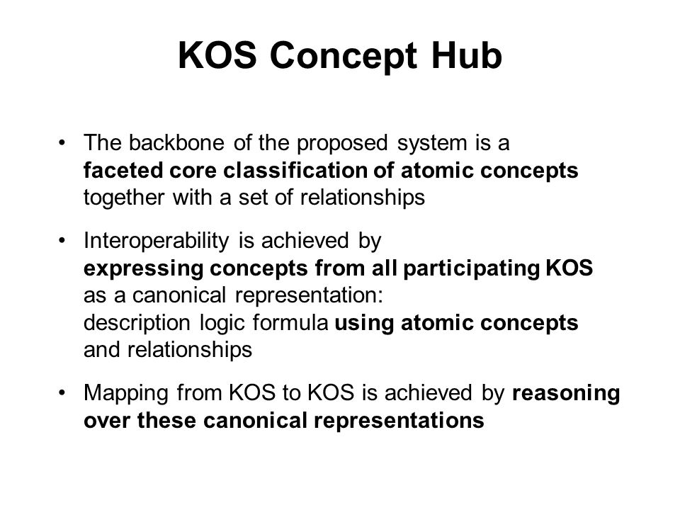 KOS Concept Hub The backbone of the proposed system is a faceted core classification of atomic concepts together with a set of relationships.