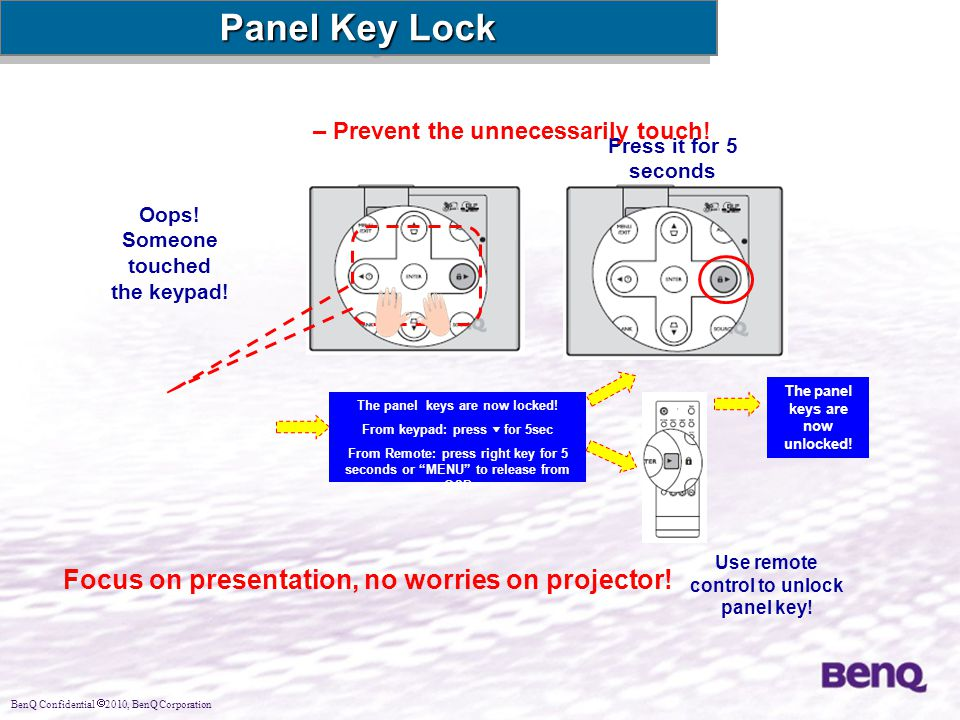 Panel Key Lock Focus on presentation, no worries on projector!