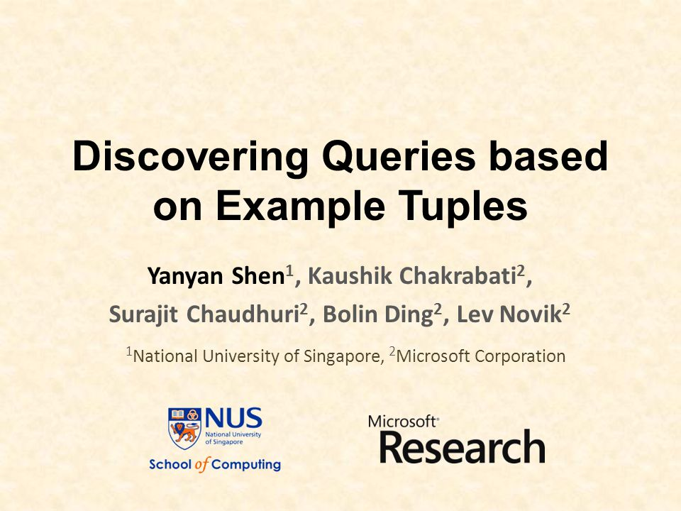 Discovering Queries based on Example Tuples