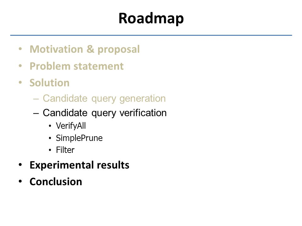 Roadmap Motivation & proposal Problem statement Solution