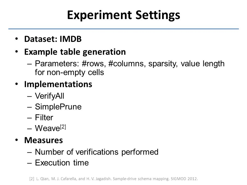 Experiment Settings Dataset: IMDB Example table generation