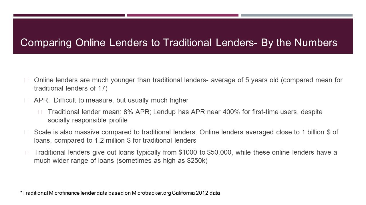 Comparing Online Lenders to Traditional Lenders- By the Numbers