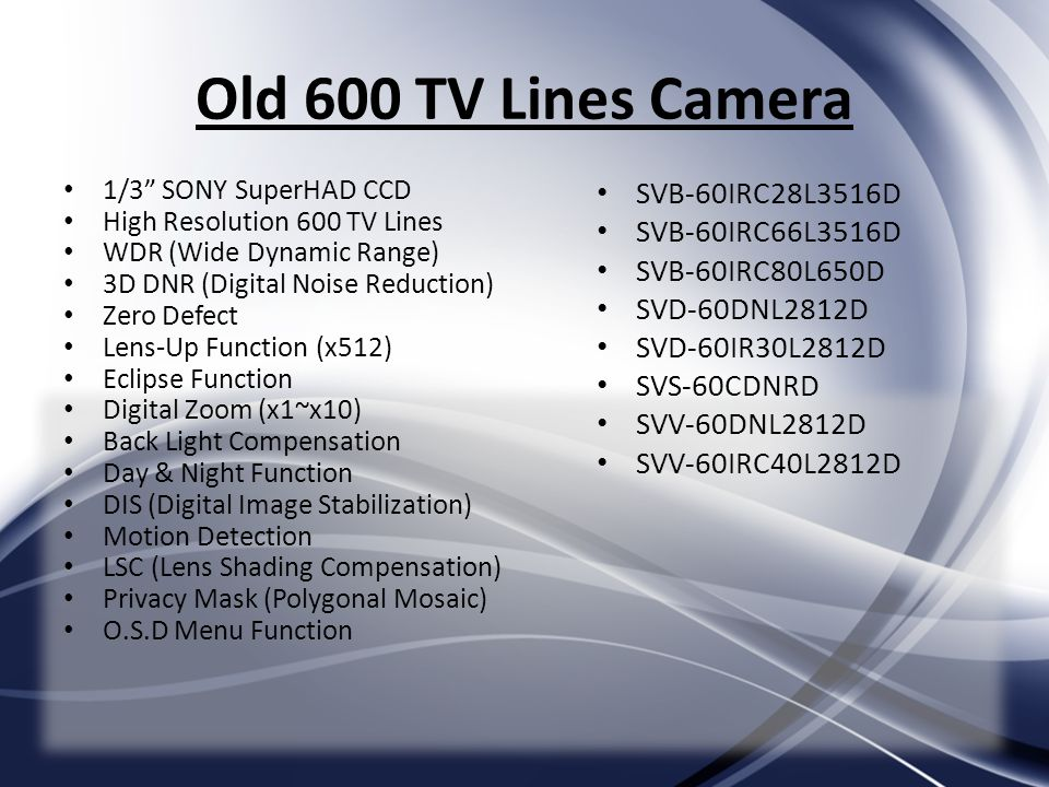 Old 600 TV Lines Camera SVB-60IRC28L3516D SVB-60IRC66L3516D