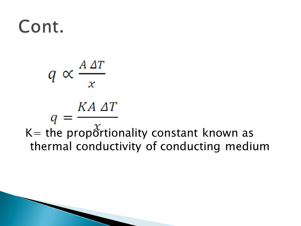 Cont. K= the proportionality constant known as thermal conductivity of conducting medium