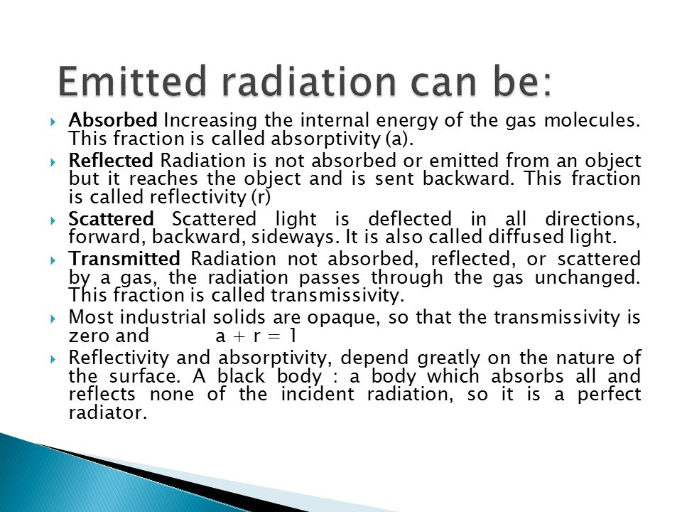 Emitted radiation can be: