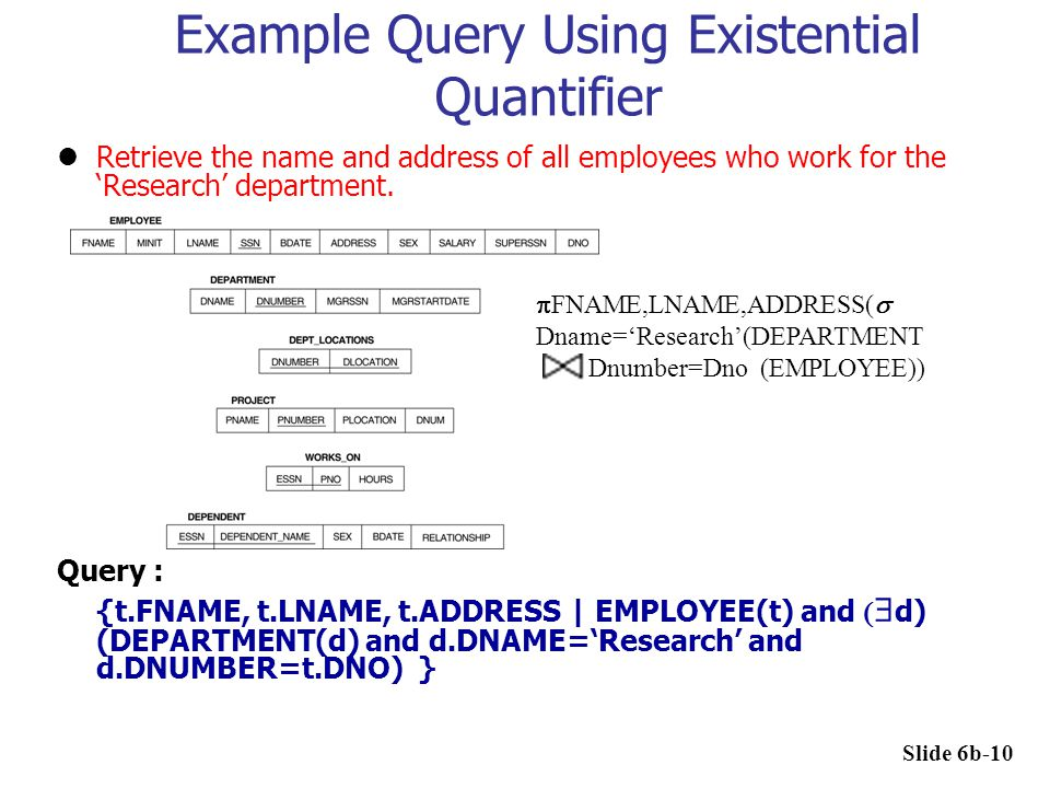 Example Query Using Existential Quantifier