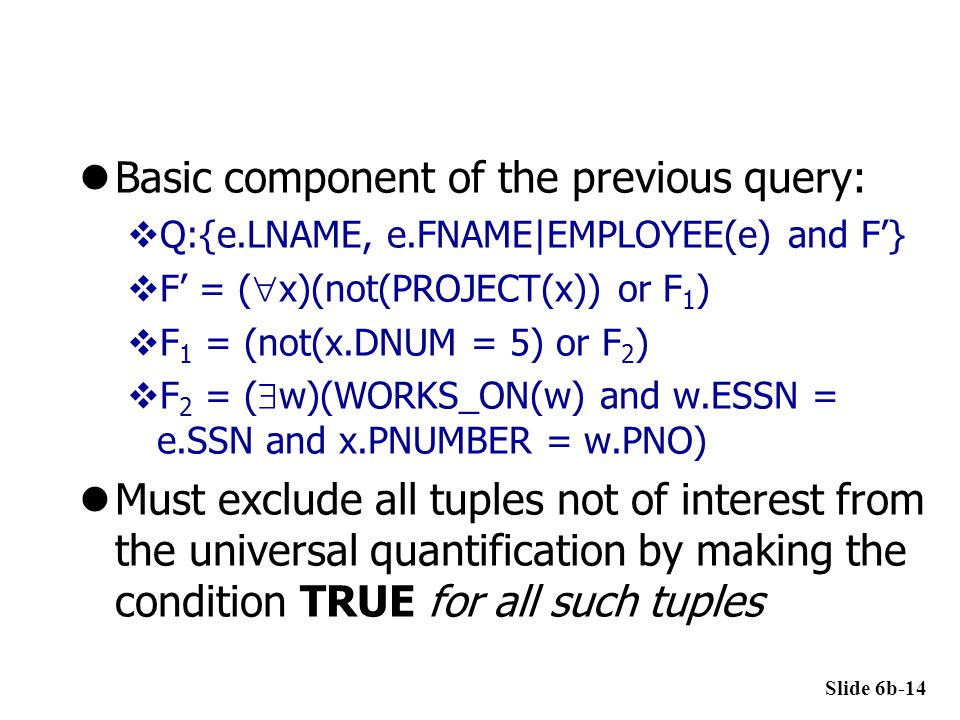 Basic component of the previous query: