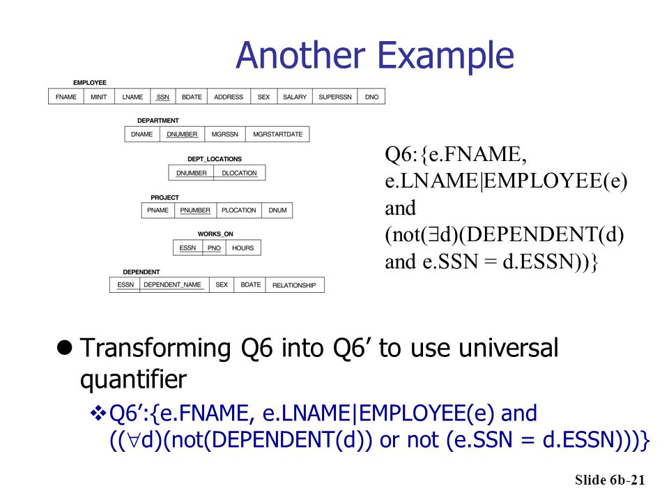Another Example Transforming Q6 into Q6' to use universal quantifier