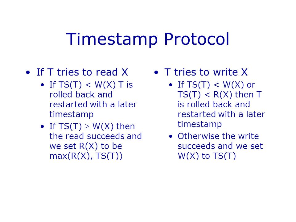 Timestamp Protocol If T tries to read X T tries to write X