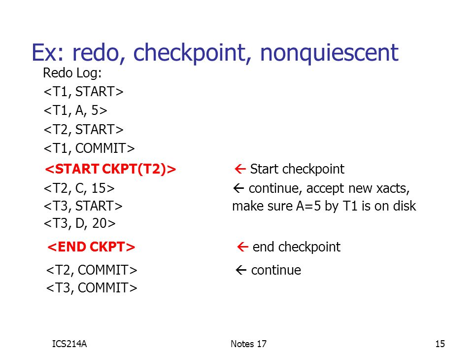 Ex: redo, checkpoint, nonquiescent