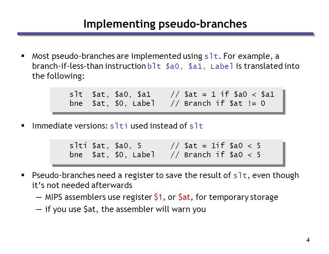 Implementing pseudo-branches
