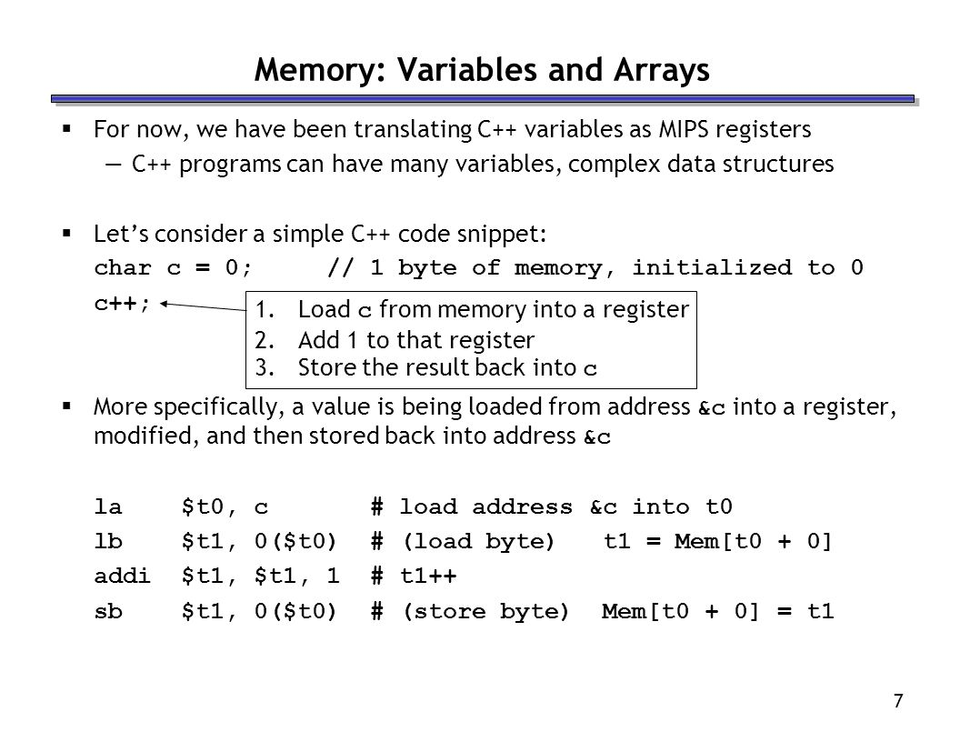 Memory: Variables and Arrays