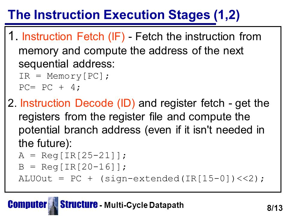 The Instruction Execution Stages (1,2)
