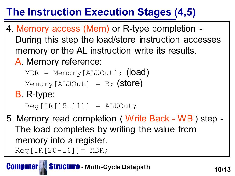 The Instruction Execution Stages (4,5)