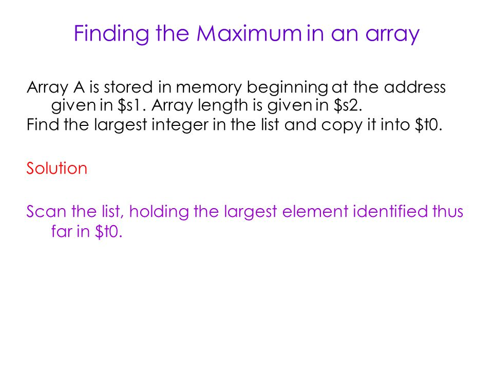 Finding the Maximum in an array