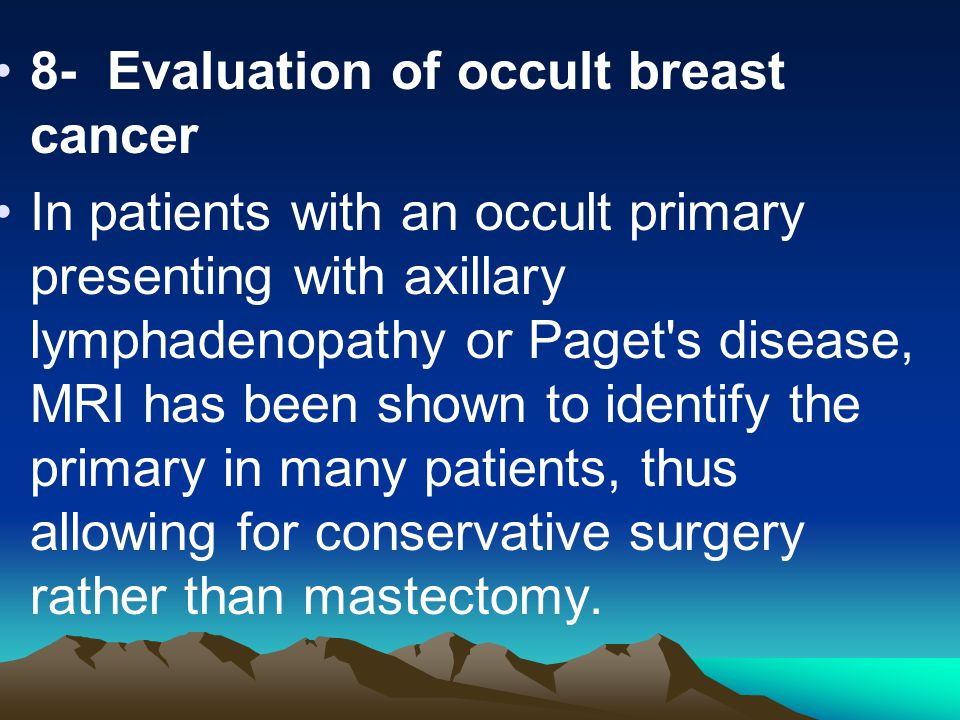 8- Evaluation of occult breast cancer
