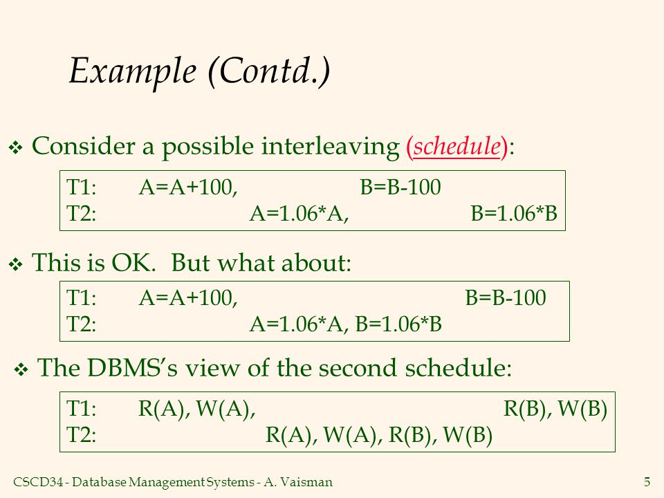 Example (Contd.) Consider a possible interleaving (schedule):