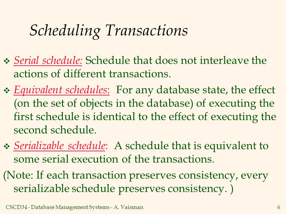 Scheduling Transactions
