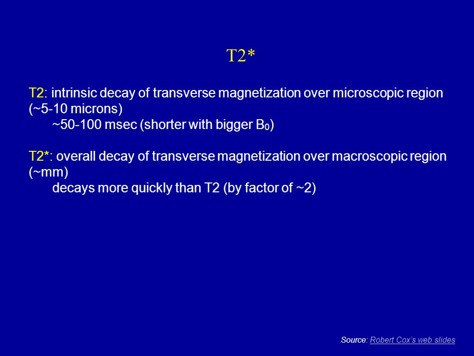 T2* T2: intrinsic decay of transverse magnetization over microscopic region (~5-10 microns) ~50-100 msec (shorter with bigger B0)