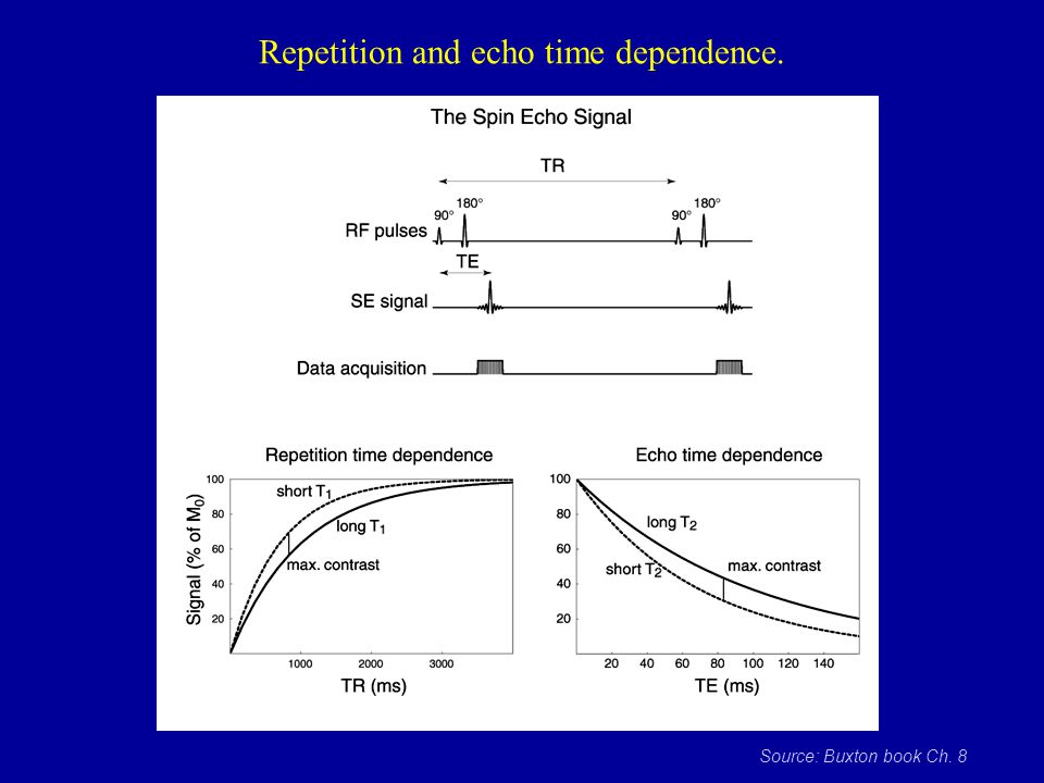 Repetition and echo time dependence.