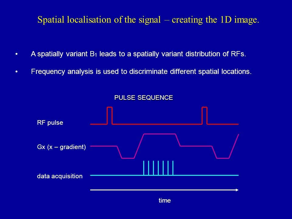 Spatial localisation of the signal – creating the 1D image.