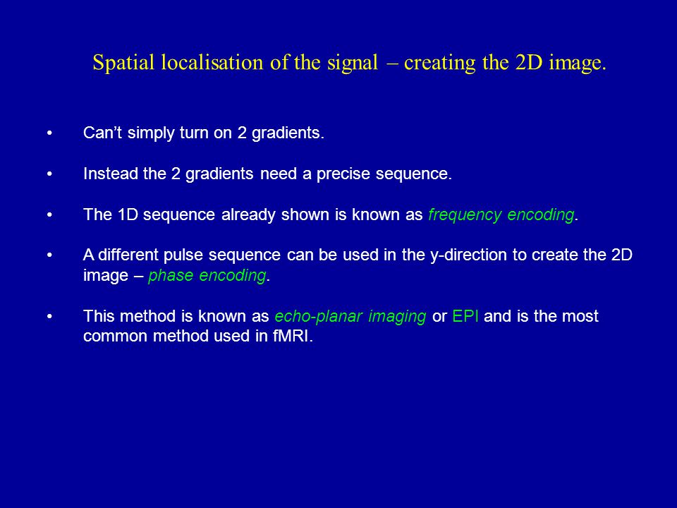 Spatial localisation of the signal – creating the 2D image.